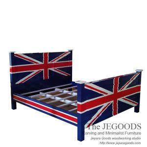 Jegoods Woodworking Studio produce antique mahogany creative painted union jack flag style. Produsen mebel model bendera inggris kualitas ekspor grade A.