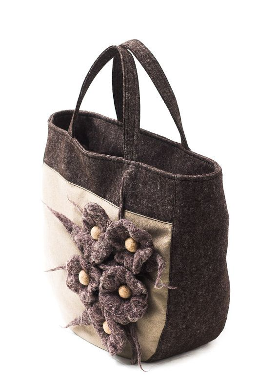 Soft felt brown and beige handbag with wet felted flowers by Anardeko