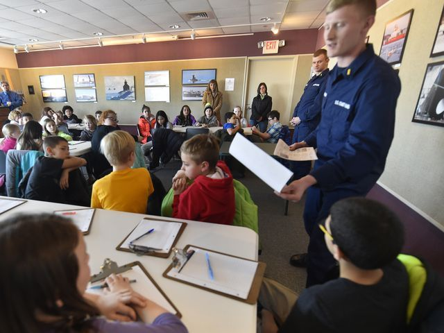 Children use maritime imagery to spur creative writing  STURGEON BAY - About 40 fourth grade students from Sunrise Elementary School in Sturgeon Bay had their creative juices kicked into high gear recently, after learning about freighters, tugboats and the U.S. Coast Guard from people who lived in that maritime world at the Door County Maritime Museum.