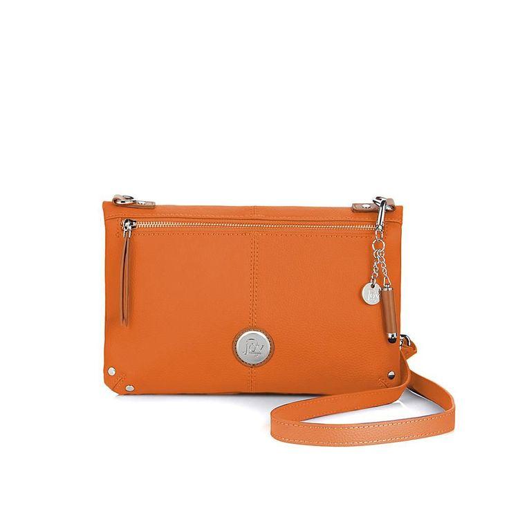 Joy Mangano JOY Genuine Leather Foldover Crossbody Bag with RFID Protection - Orange