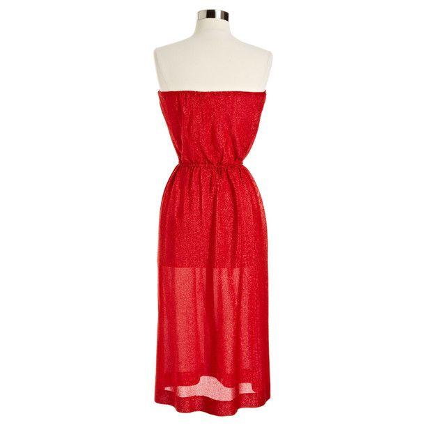 Red Sparkle Strapless Dress