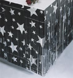 "Black w/ Silver Stars Table Skirting 30""x14' $11.99 @ Shindigz.com (for food/cake table)"