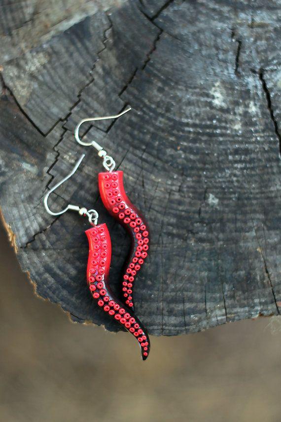 Red Black Octopus Earrings, Tentacle Earrings, Polymer Clay Tentacle, Kraken Jewelry, Octopus Handmade, Cthulhu Jewelry, Gift Idea