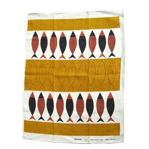 "Tea towel with ""Tampella. 'Kala' Ayne Laukkanen design. Made in Finland"" on it. From Wooden Donkey Vintage"