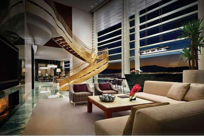 Aria Sky Suite Gold Stairs Vegas Suites Las Vegas Hotel Suites