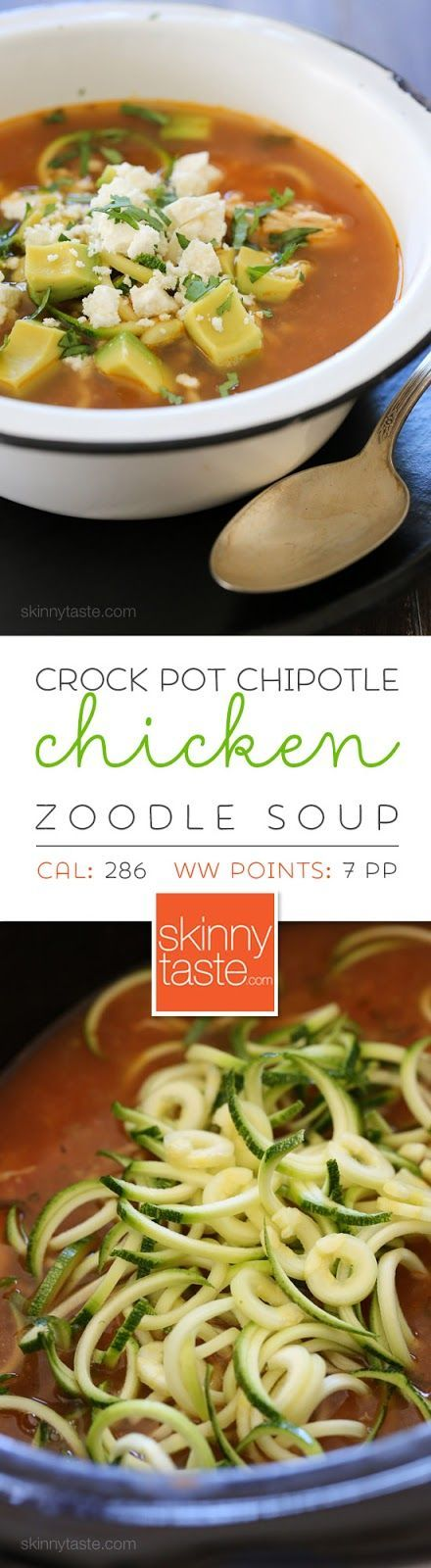 """Slow Cooker Chipotle Chicken Zucchini """"Fideo"""" Soup – made with spiralized zucchini noodles!"""