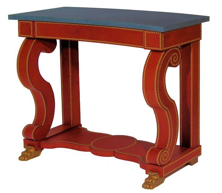 Red Velvet Console Table for interior designer, Alidad