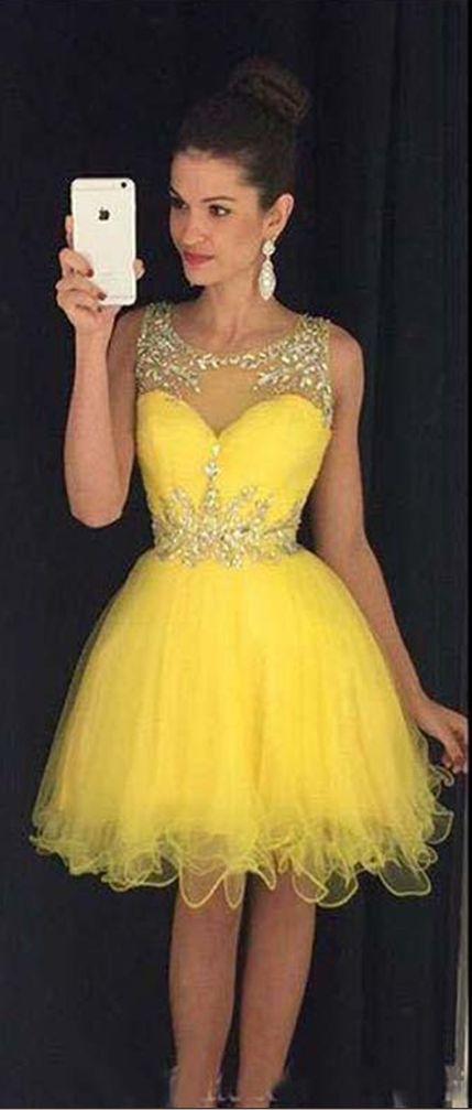 Homecoming Dress,Homecoming Dresses,Sweet 16 Dress,2017 Homecoming Dress,Yellow Cocktail