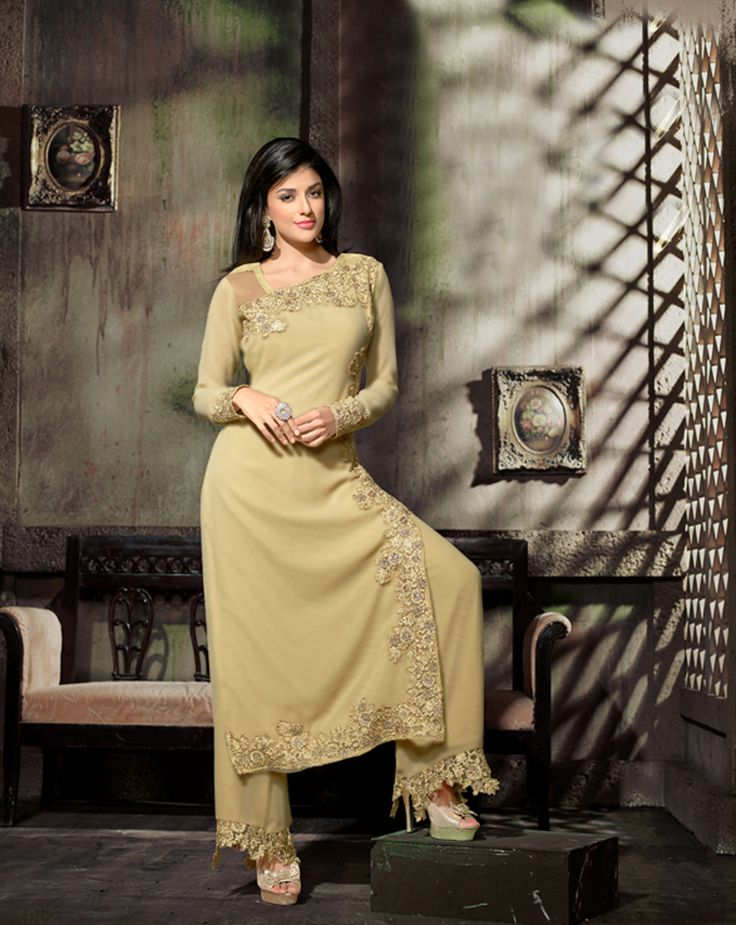 Cream Georgette Kameez With Palazzo Pant 66242