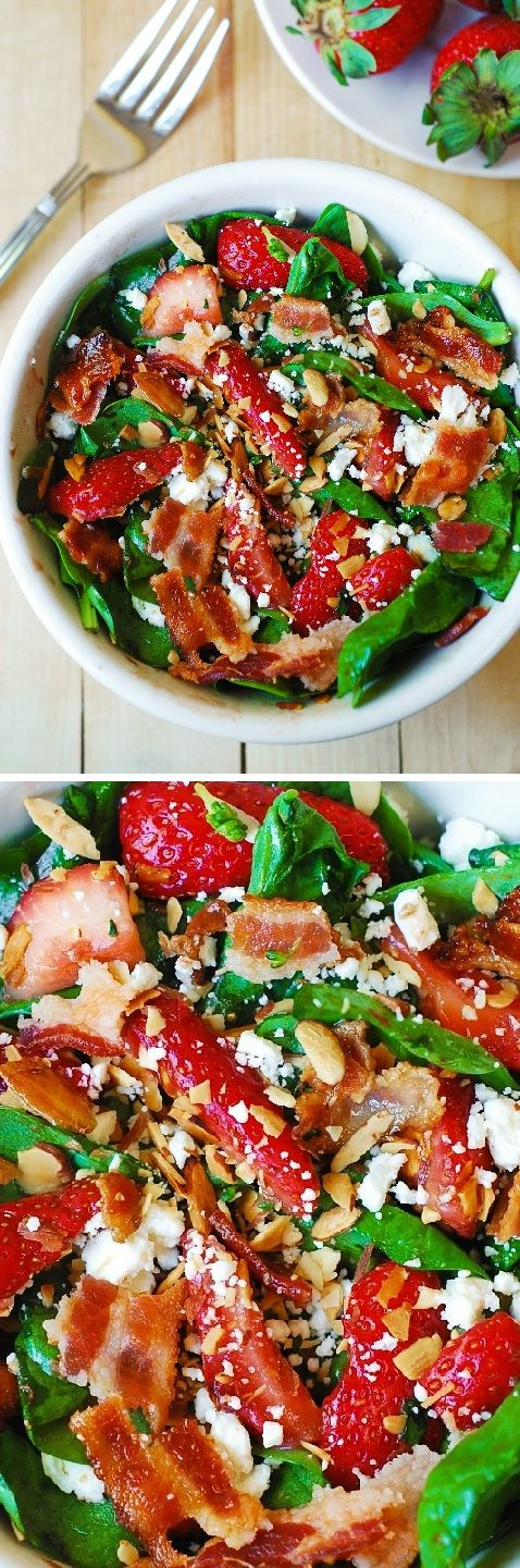 Strawberry spinach salad with bacon, feta cheese, and toasted almonds in a simple homemade balsamic vinaigrette. Gluten free