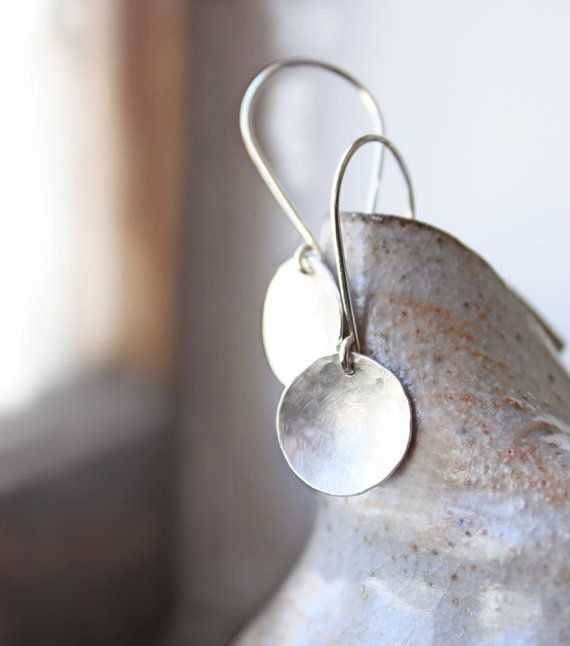 sterling silver earrings, hammered disc round circles, silver jewelry lunar full moon