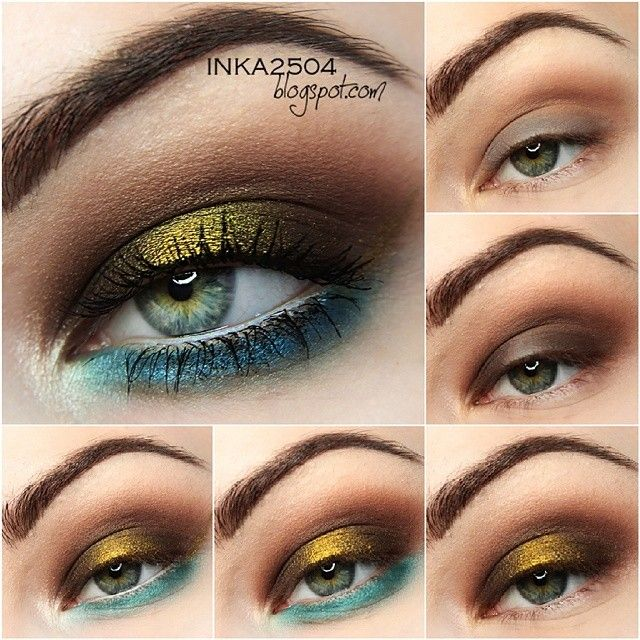 Brown, gold and blue makeup of Pocahontas look