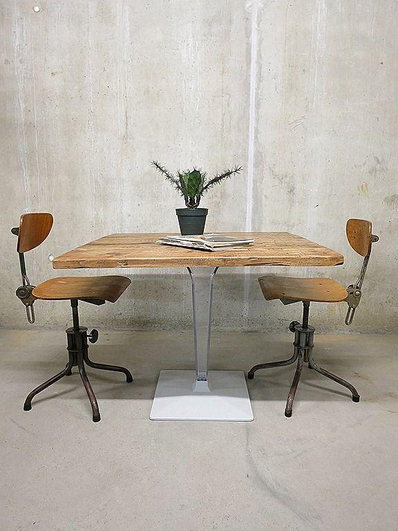 Vintage bistro tafel industrieel loft, Industrial dinner table vintage design | Bestwelhip