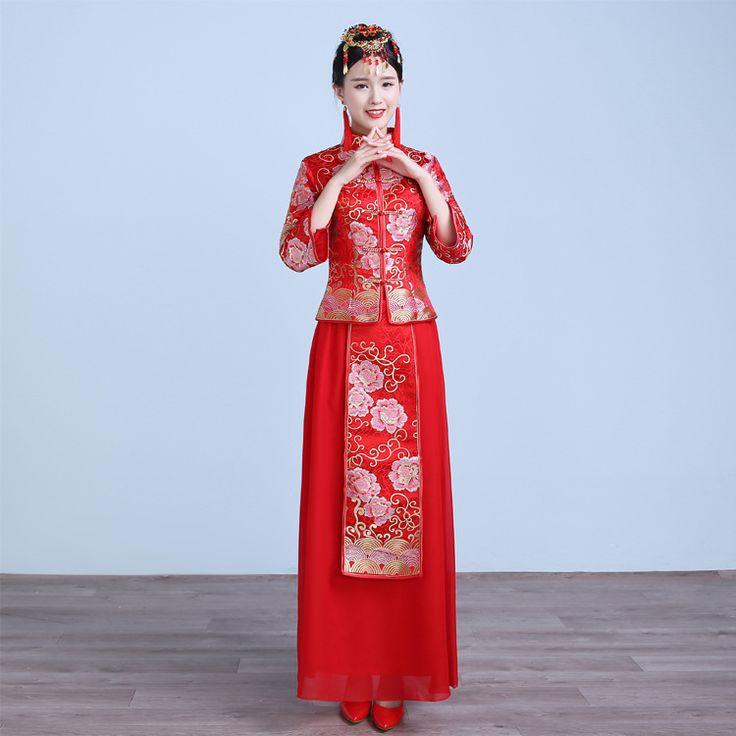 SexeMara Nice Style Chinese Traditional Dress Red Wedding Dress Long  Evening Dress Embroidery Cheongsam Clothing #