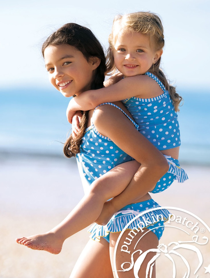 striped spotted tankini set in calypso blue.    Pumpkin Patch Summer fashion collection 2012.