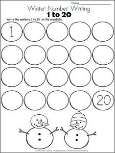 Snowman Math - Write the Numbers to 20