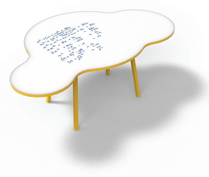 The NorvaNivel original Cloud table is a collaborative work surface. It's not tessellating shape supports contemporary pedagogies and learning spaces. Shown with writeable surface.