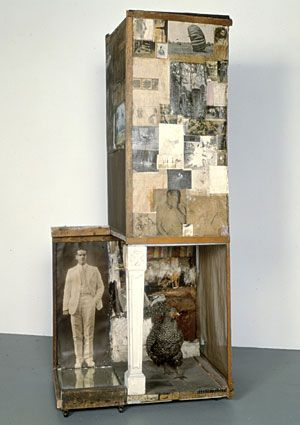 Robert Rauschenberg Combine with newspaper, wood, glass, dried grass, table leg and taxidermy rooster.  And I worry about my assemblages being archival??