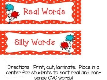 Silly Word and Real Word CVC sort!  Perfect for Read Across America Day or for Dr. Seuss Centers!  Great for Word Work, Daily 5, and Kinders!