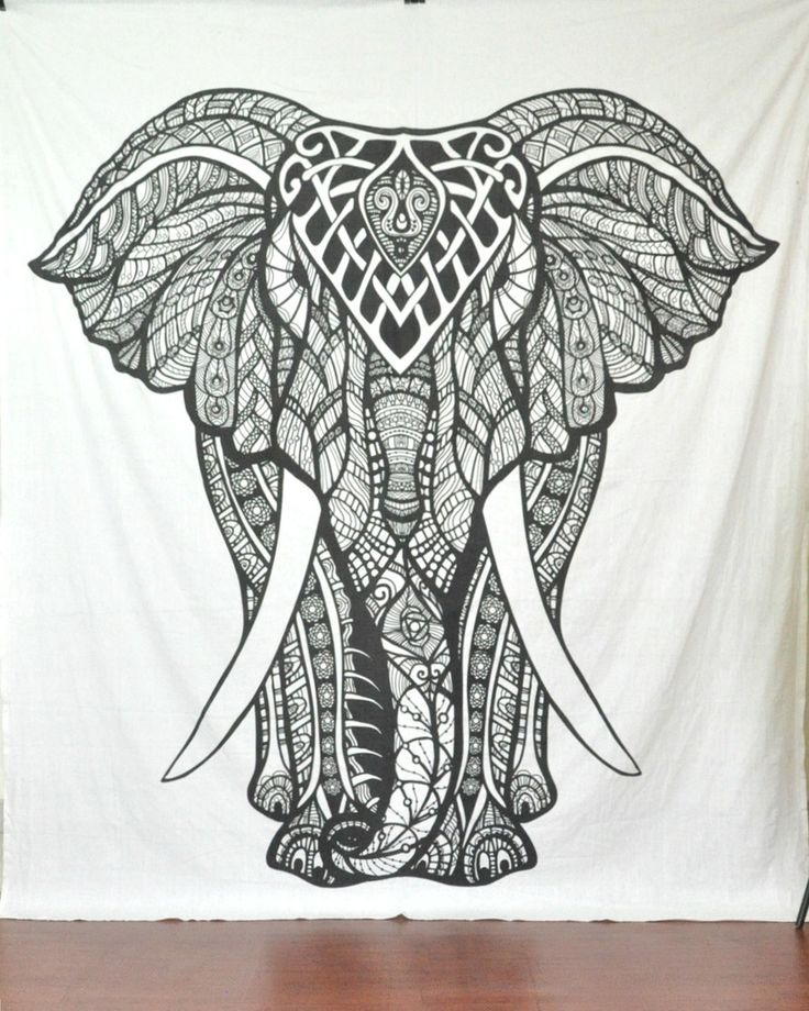 Large Black And White Elephant Tapestry Psychedelic Hippie