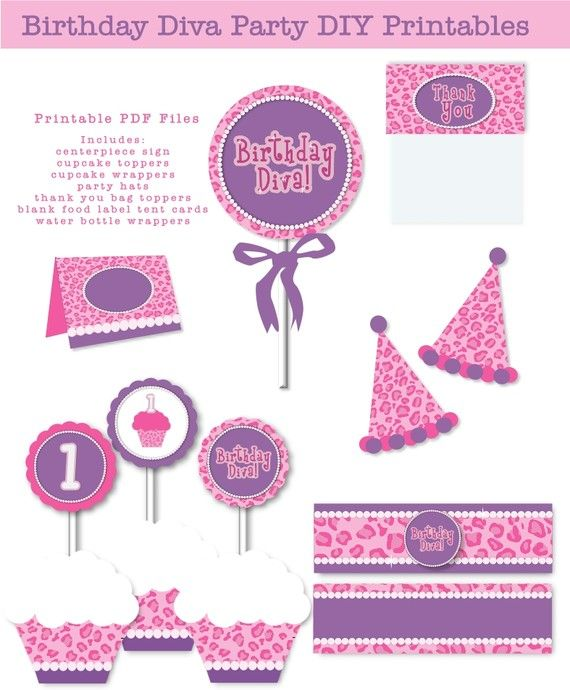 INSTANT DOWNLOAD First Birthday Diva Purple Pink Leopard Pearls Printable Birthday Party Digital Files