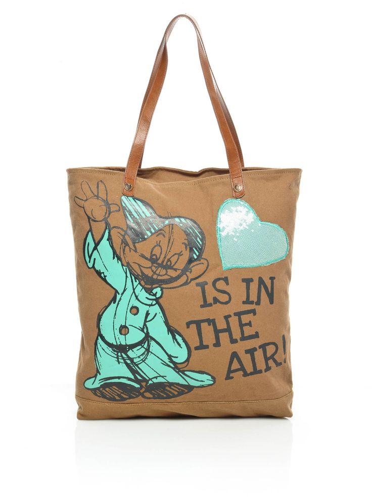 """Disney Seppl von de 7 Zwergen Damen Handtasche Tasche Schultertasche Henkeltasche """"Love is in the air"""" (Brown): Amazon.de: Schuhe & Handtaschen"""
