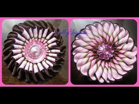 ▶ D.I.Y.Como Hacer Una Flor Doble Vista Con Liston !!!!!