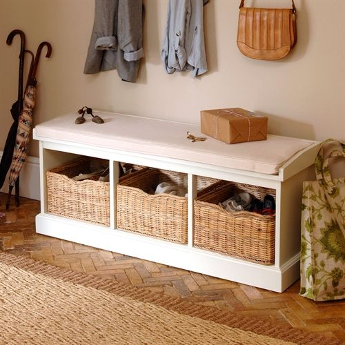 Tetbury Ivory Hall Bench With 3 Shoe Baskets Hall Bench
