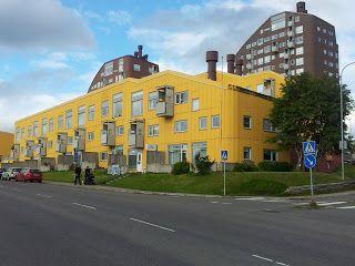 Modernism housing by Ralph Erskine in Kiruna, Sweden,1961.