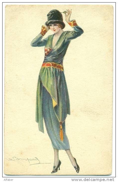 S. BOMPARD Illustrateur. Femme  élégante replaçant son épingle à chapeau.