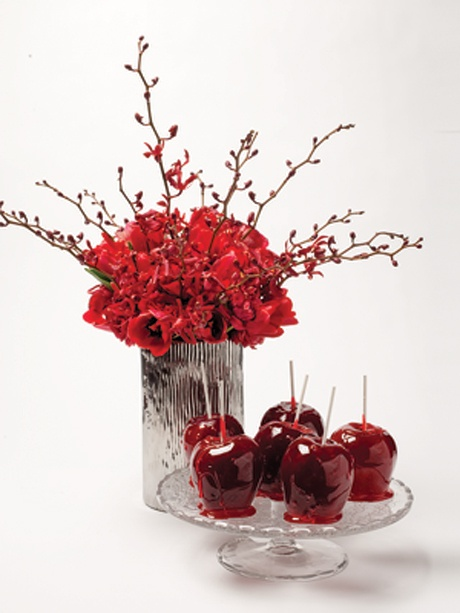 halloween wedding theme idea candy apple decor dessert bar red crystal - Halloween Centerpieces Wedding
