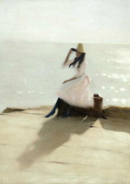 <해변의 젊은 여인 (Jeune femme sur la plage ou Jeune femme sur la jetée, Walberswick)>-필립 윌슨 스티어(Philip Wilson Steer)