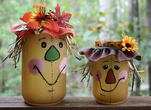 Scarecrow with stitched face Mason Jar Candle