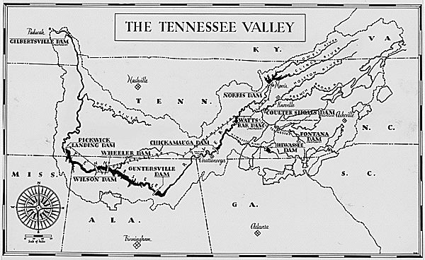 Map of the Tennessee Valley Authority 1942