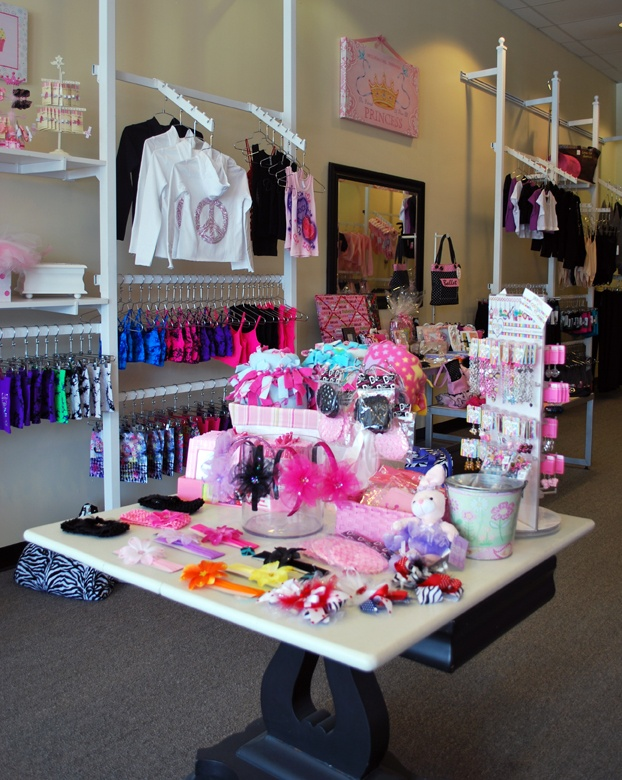 At On Pointe Dancewear N Apparel, a table at the front of the store showcases small gift items, which helps attract passing nondance customers. (Read all about this store in the June issue!)