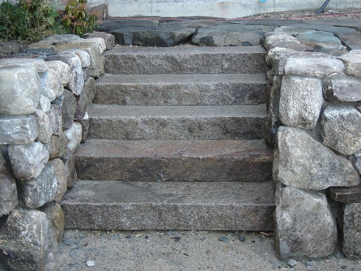 Rough Granite Stone : Granite stairs with fieldstone cheek walls note that the