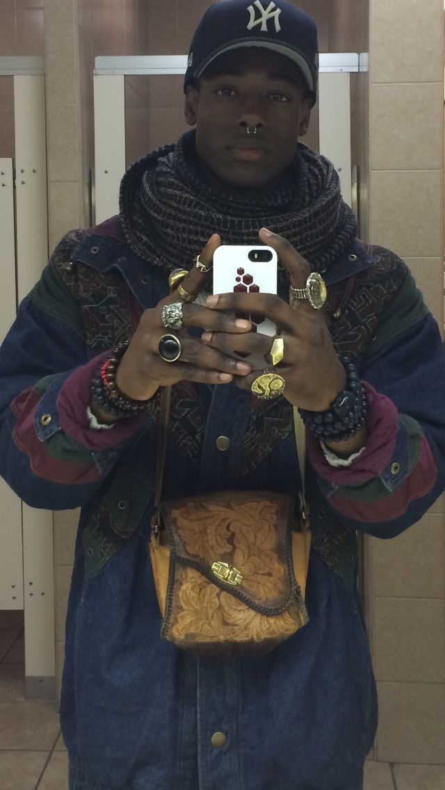 Instagram: Orlando_Devon - Hand Made jacket made by him - Bag From Argentina - Buddha Bracelets - Infinity Scarf - Septum
