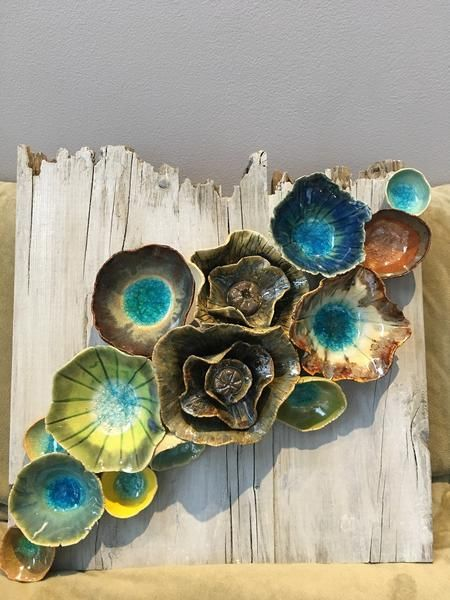 """Wall ceramic sculpture made of ceramics depicting corals and barnacles. Size: 12"""" x 12"""".Reclaimed Wood Wall Art; Ceramic Coral Reef Wall Application; Ocean Ree"""