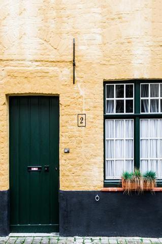 Modern Brick House Green Door Backdrop - 6265 - Backdrop Outlet