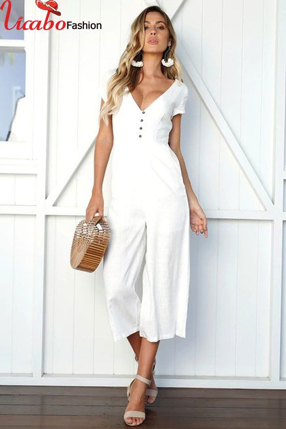 5ad27ff79710 Women Summer Jumpsuit Deep V-neck Party Casual Button Wide Leg Pants  Playsuit in 2018