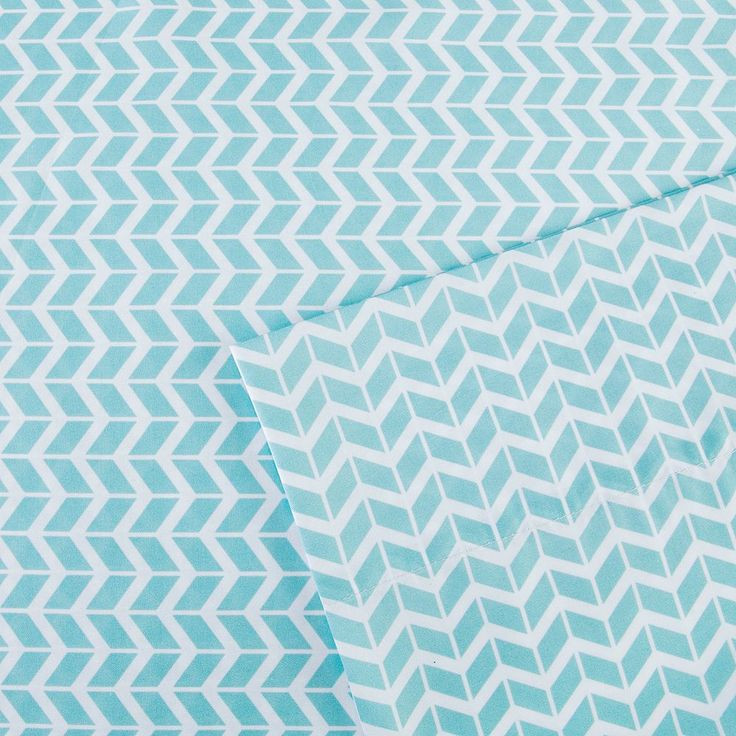Intelligent Design Chevron Sheets, Blue Twin Xl