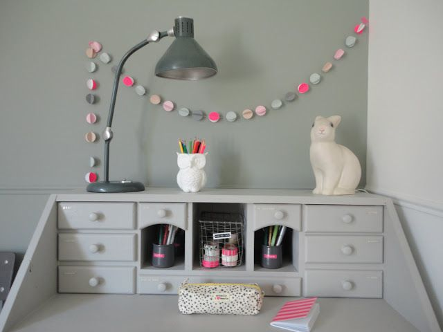 Kids desk area. Owl pencil holder. Rabbit lamp. Garland.