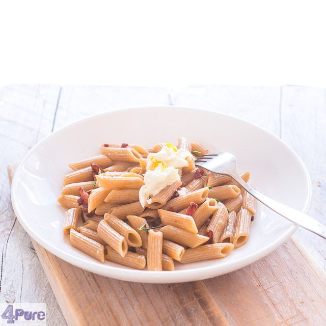 Spelt penne with rosemary, bacon and lemon- English recipe - Spelt penne with rosemary, bacon and lemon. All the flavors are coated like a delicious layer to the hollow spelt penne. Each bite becomes a taste explosion. Tasteful and quick for busy days.