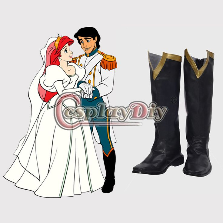 The Little Mermaid Adult Men's Prince Eric Cosplay Boots Shoes Carnival Party Costume Prop Custom Made