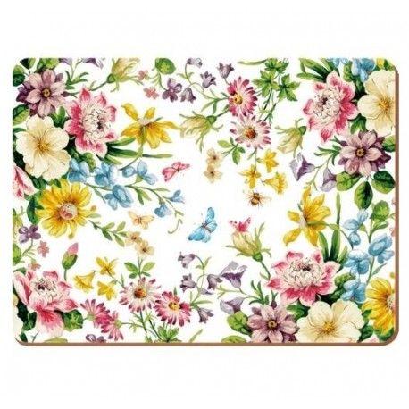 Duże podkładki korkowe na stół z motywem kwiatowym.  Więcej na: www.lawendowykredens.pl