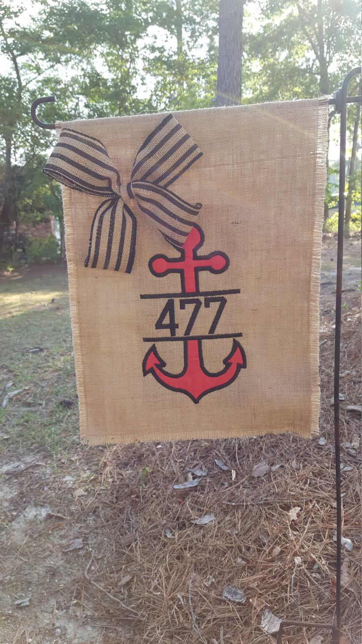House number flag, Burlap Garden Flag, Nautical Gift, Hostess Gift, Garden Flag, Welcome Flag, Anchor Welcome Flag, Burlap Yard Flag by Marijeans on Etsy