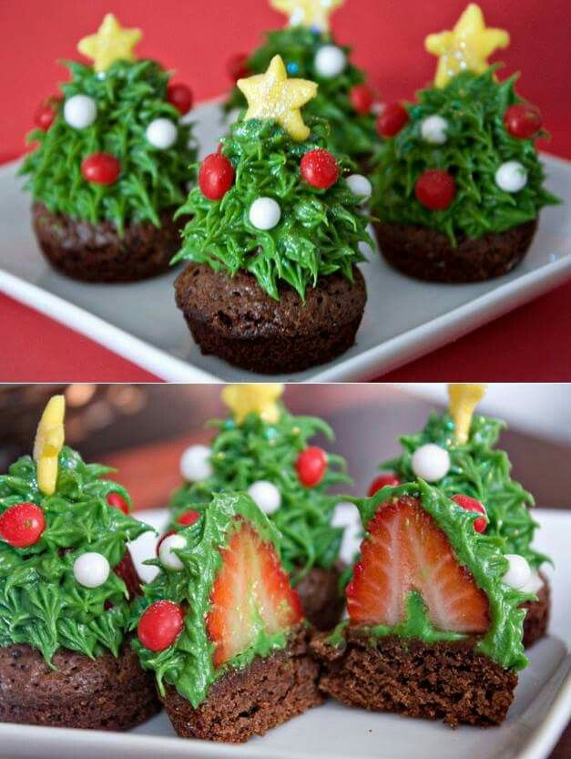 Christmas Tree Brownies with a Strawberry Surprise     - More Pics here: http://www.stylishboard.com/christmas-tree-brownies-with-a-strawberry-surprise/