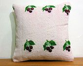 HAND WOVEN cream pillow sham white floor pillow natural pillow case white decorative pillow cream pillow case fruit Kilim Pillow case 4099