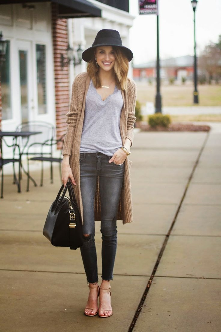 gray jeans + camel jacket