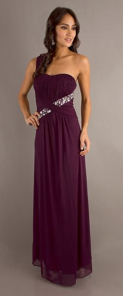 Grecian Style Plum Dress Long Flowy Chiffon One Shoulder